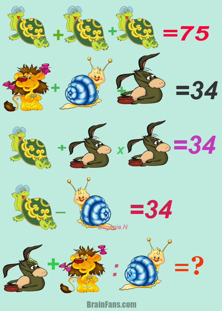 Brain teaser - Number And Math Puzzle - Cartoon characters -