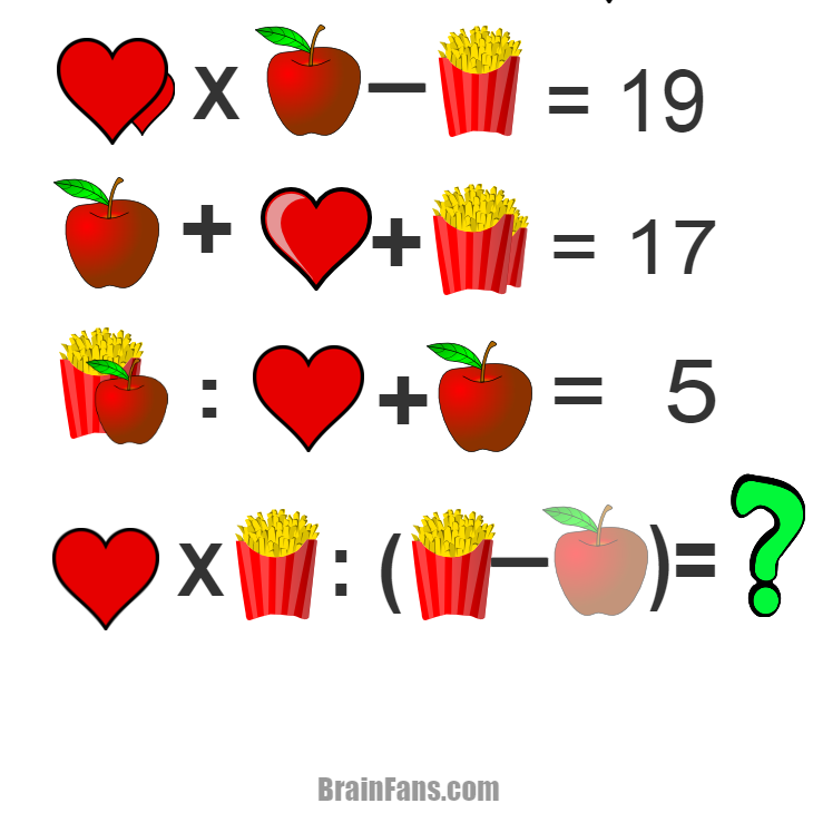 Brain teaser - Number And Math Puzzle - Hearts, apple and popcorn - Logic puzzle