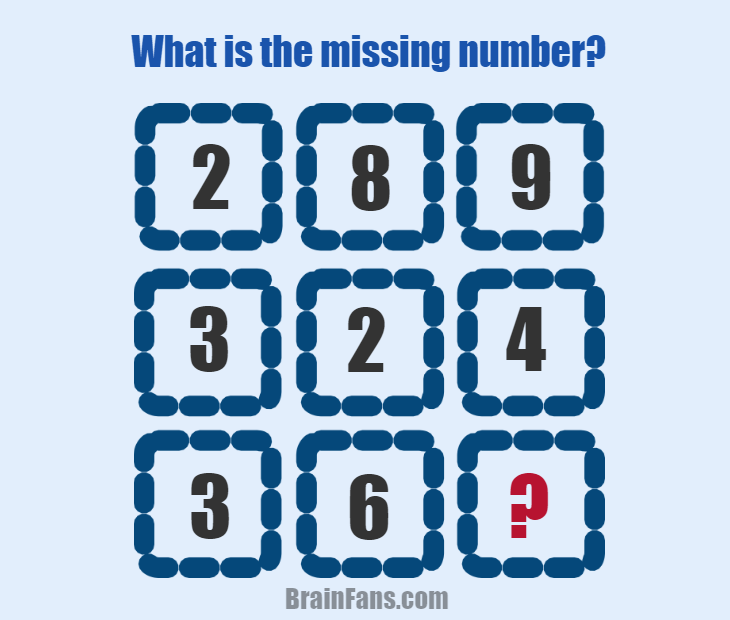 Brain teaser - Number And Math Puzzle - Missing number puzzle with answer - Can you find the pattern and the missing number? Answer is provided below for you to check.
