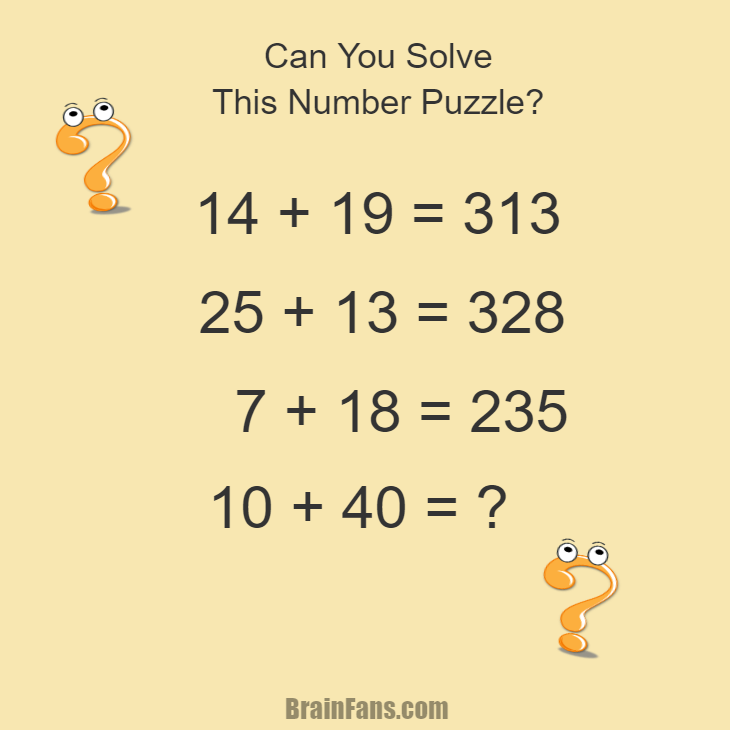 Brain teaser - Number And Math Puzzle - Number puzzle quiz with answer - Can you find a pattern and solve the following number puzzle quiz? The answer is provided below the puzzle image.
