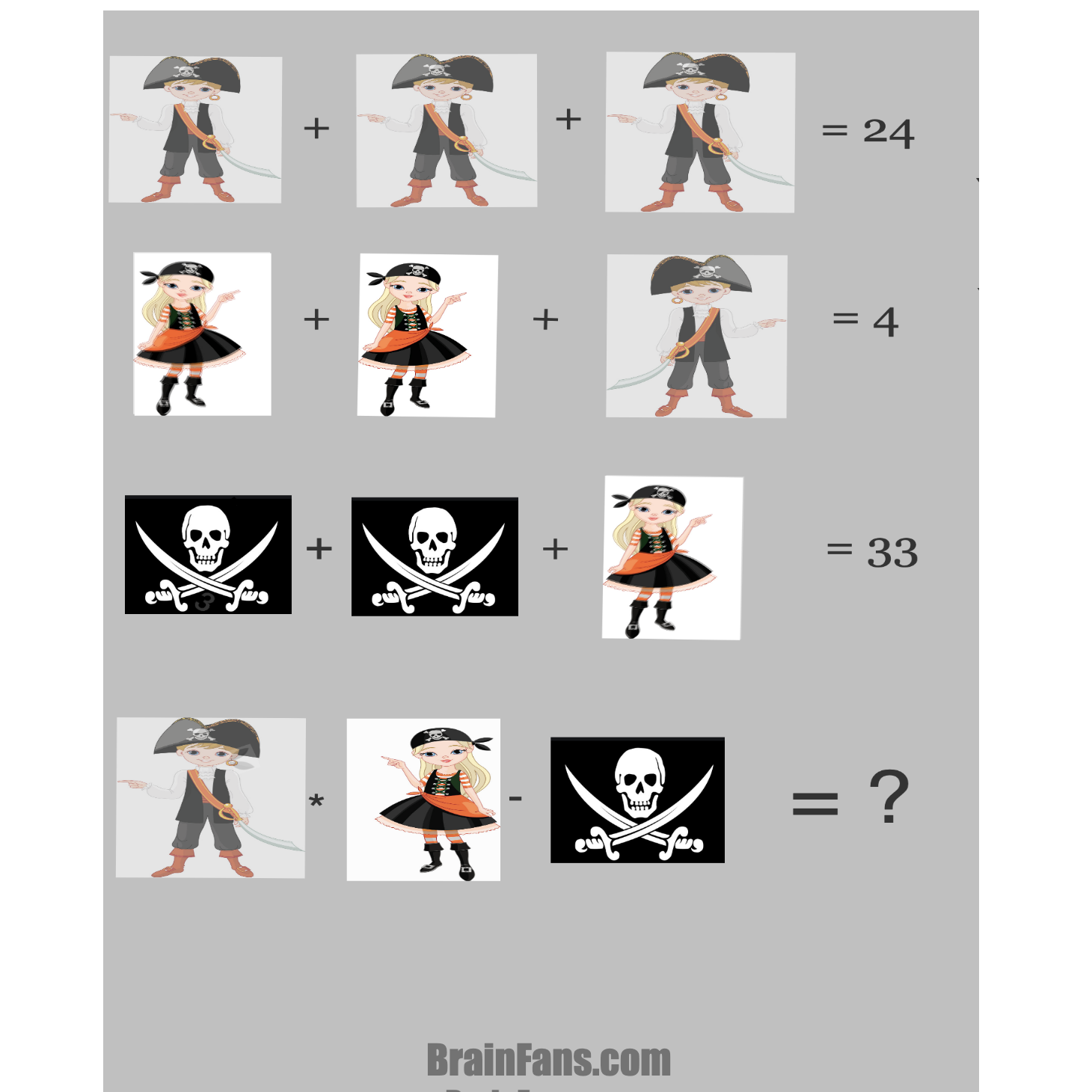 Brain teaser - Number And Math Puzzle - PIRATI -