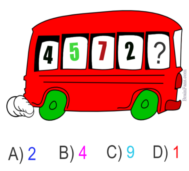 Brain teaser - Kids Riddles Logic Puzzle - Bus puzzle - Puzzle with a bus. Which answer is correct and goes into a bus window on the right? Guess A) B) C) D).