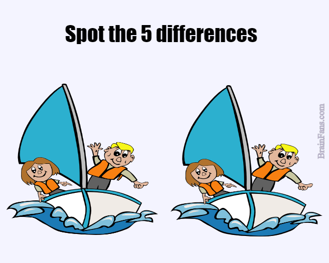 Brain teaser - Kids Riddles Logic Puzzle - five differences - Spot the five differences