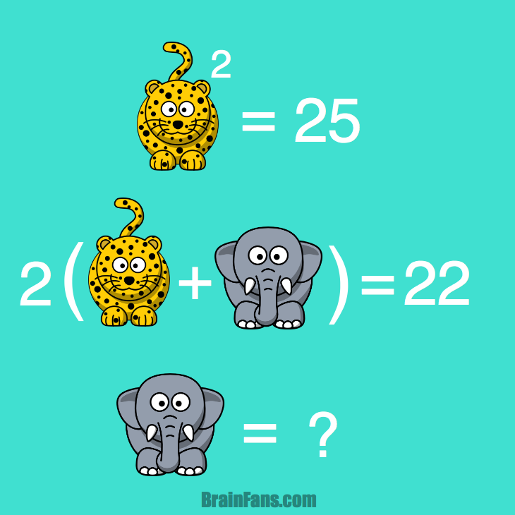 Brain teaser - Kids Riddles Logic Puzzle - Leopards and elephants - Parentheses  -