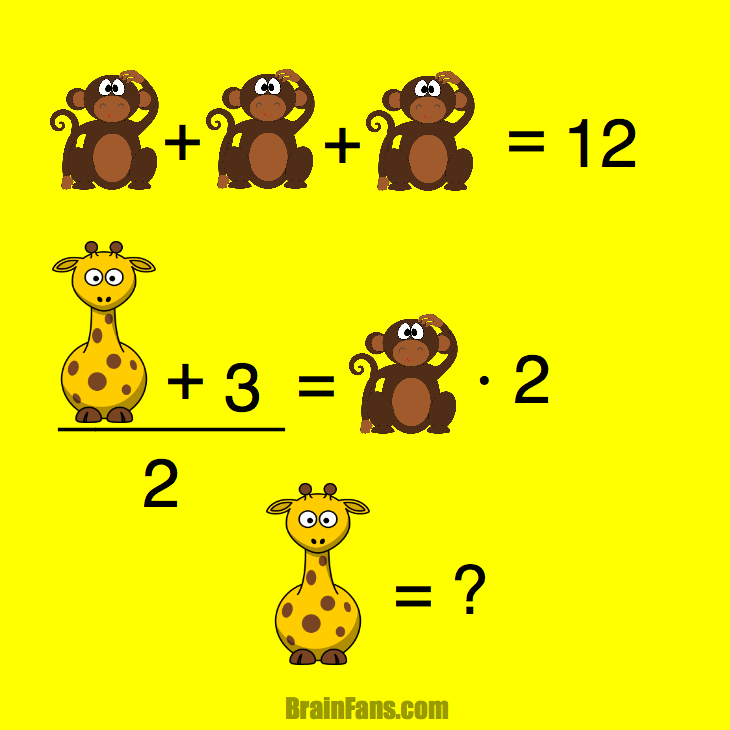Brain teaser - Kids Riddles Logic Puzzle - Monkey Giraffe -