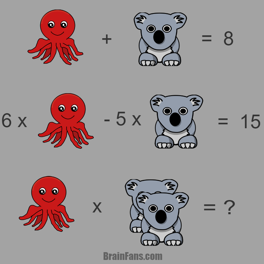 Brain teaser - Kids Riddles Logic Puzzle - Octopus & Koala - Maths puzzle with answer with octopus & koala. Can you find the correct answer? I think you can ;) Please share if you solved this puzzle.