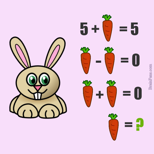 Brain teaser - Kids Riddles Logic Puzzle - Rabbit and carrot  - How many carrots will the rabbit get?