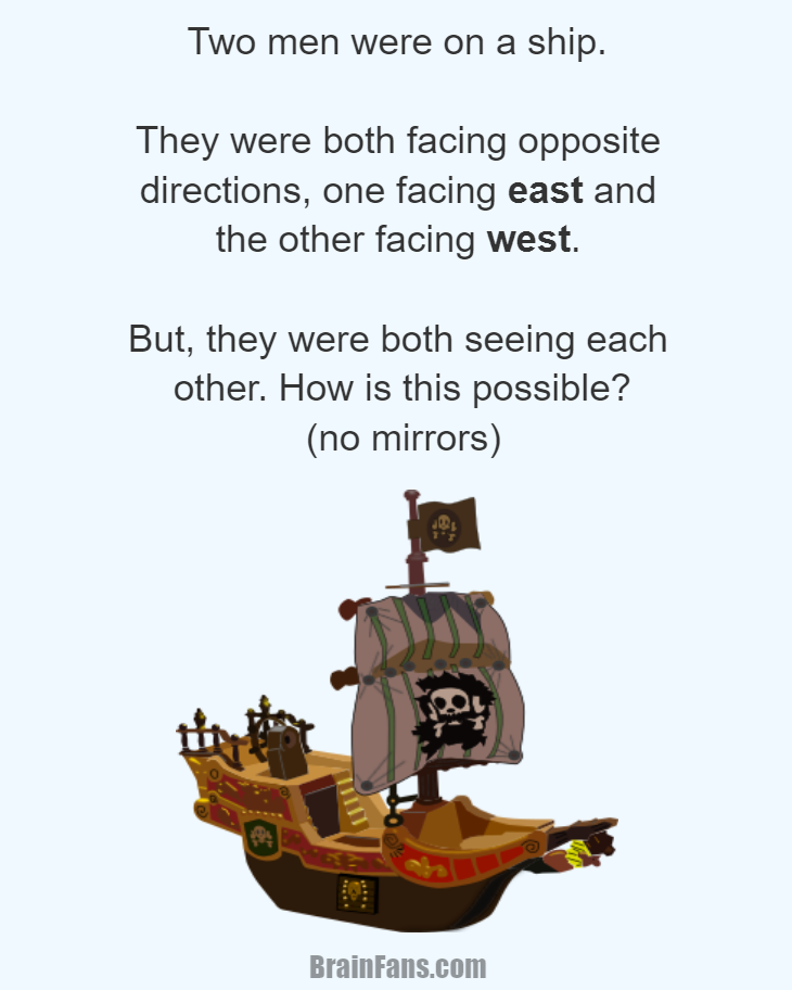 Brain teaser - Logic Riddle - Two men on a ship - Two men were on a ship. They were both facing opposite directions, one facing east and the other facing west. But, they were both seeing each other. How is this possible? There were no mirrors!