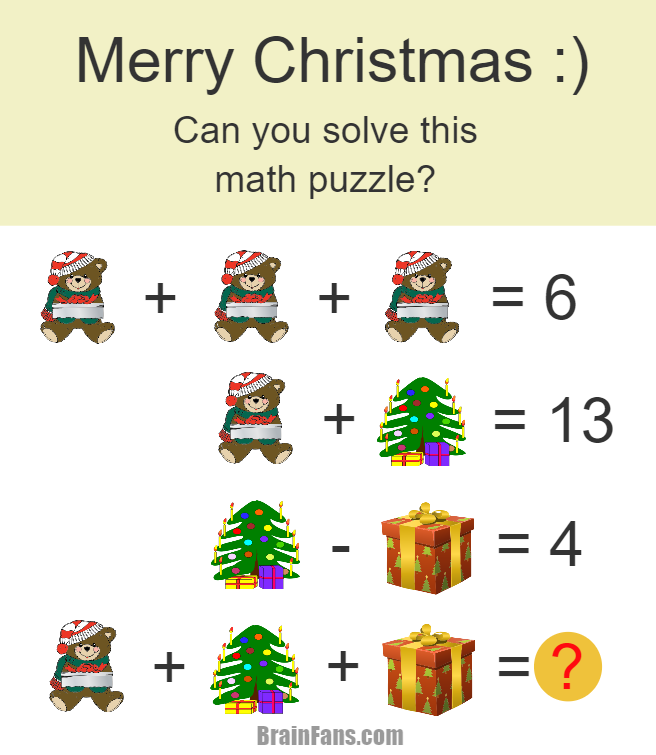 Christmas Math Puzzle For Genius Number And Math Puzzle Brainfans