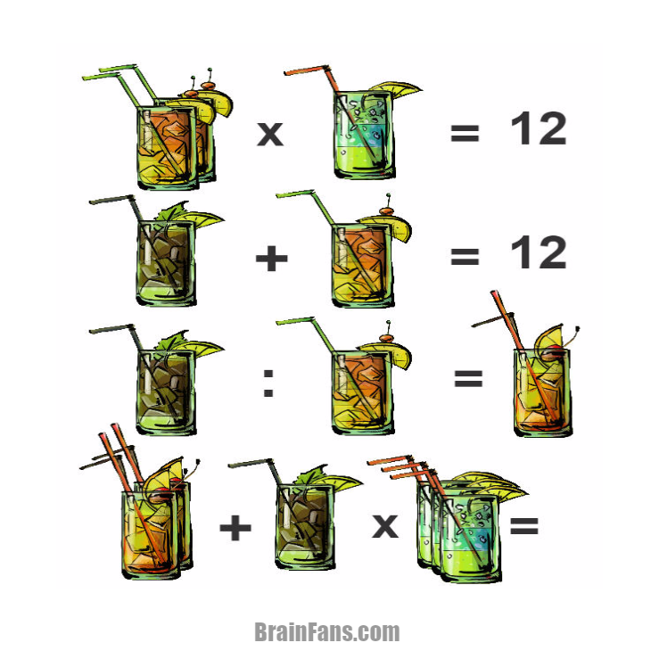 Brain teaser - Number And Math Puzzle - drinks -