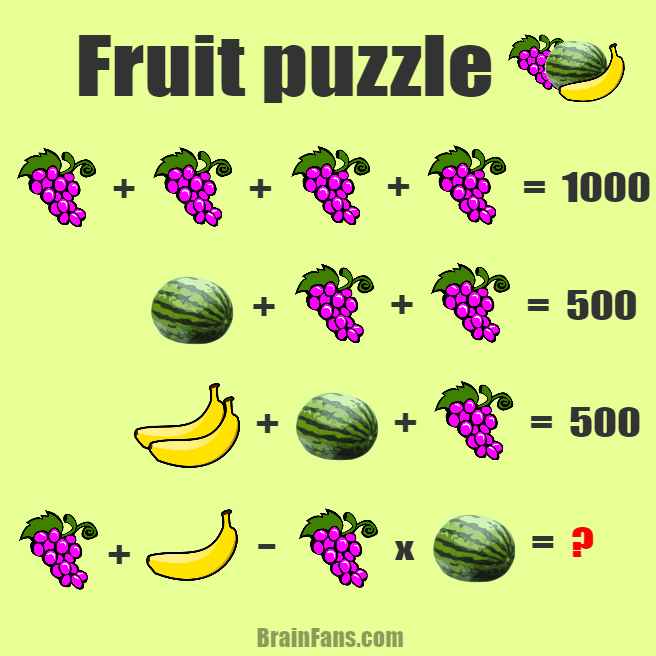Fruit puzzle | Number And Math Puzzle - BrainFans