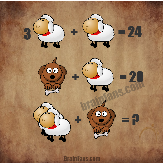 Brain teaser - Number And Math Puzzle - Funny math puzzle - One funny math puzzle with sheep and dog. Which is the correct results of the equations? Please share your answer below in the comments.