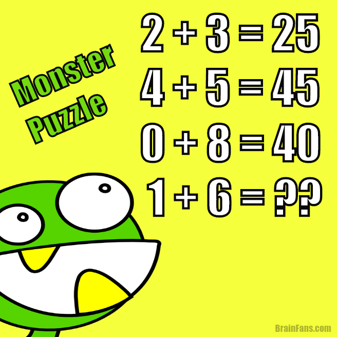 Brain teaser - Number And Math Puzzle - green monster maths puzzle - Solve this monster maths puzzle. The results are defined in a secret way - can you find it?