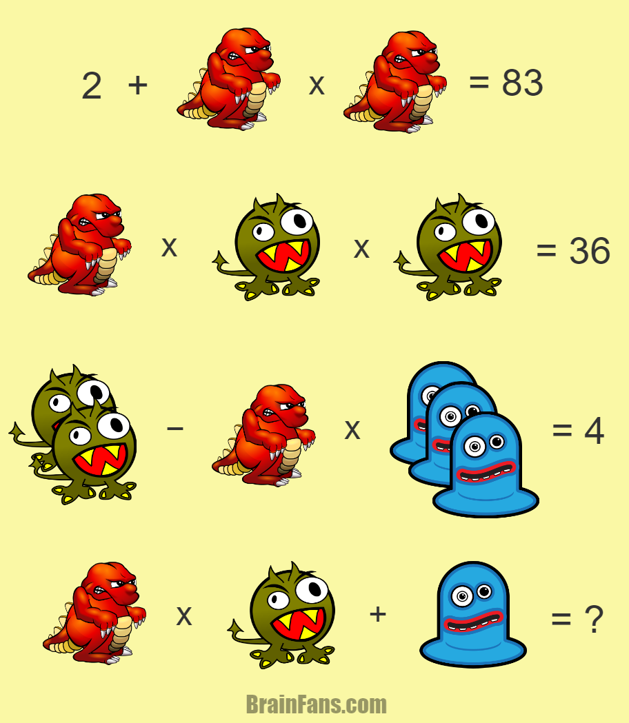 Brain teaser - Number And Math Puzzle - hard math riddle - Three monsters in different colors - one hard math riddle for your brain skills. If you solve this, please comment;)