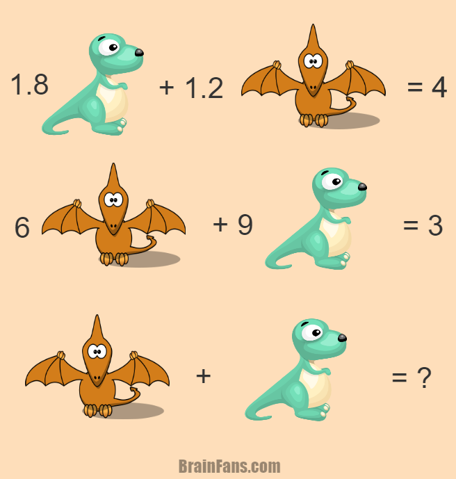 Brain teaser - Number And Math Puzzle - hard math riddle for geniuses - This one is really tough. Are you the expert to solve this math puzzle with dinosaur & pterodactyl? If this is true, please comment below and give us your answer!