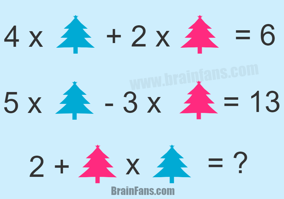 Brain teaser - Number And Math Puzzle - math puzzle with two variables - solve this math puzzle with two equations.. there is a blue tree and a red tree.. what is the result of that puzzle? Please share in comments if you found the answer:)