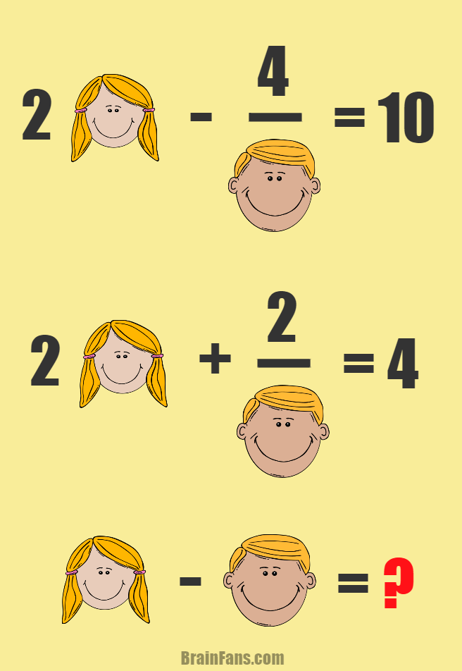 Brain teaser - Number And Math Puzzle - Math with a boy and a girl - Find the result GIRL - BOY = ?
