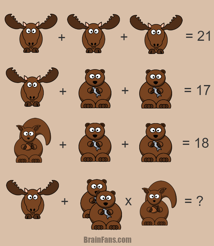 Brain teaser - Number And Math Puzzle - Moose & bear & squirrel math puzzle - There is one math puzzle including moose, bear and squirrel at the same time. User your mathematical skills and solve this puzzle for genius. If you can answer, please share your answer below and like it :) Thanks.