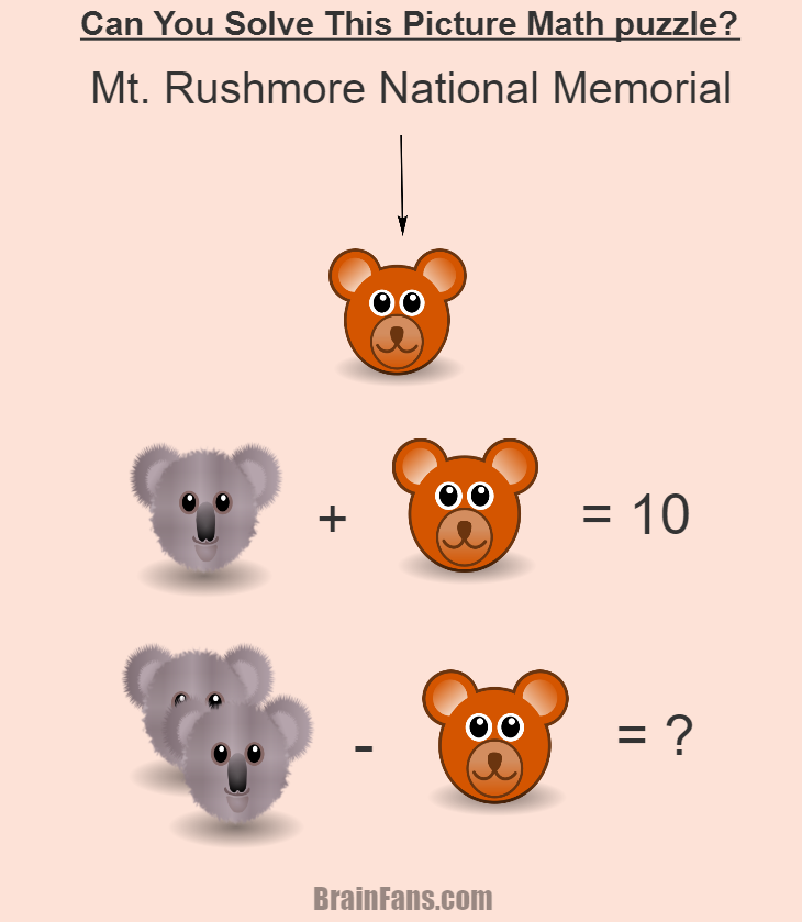 Brain teaser - Number And Math Puzzle - Picture math puzzle for 100% geniuses - Solve this picture logic math puzzle. You will have to find a number for a teddy bear, then for a koala and get the result. If you find the answer, you are great!