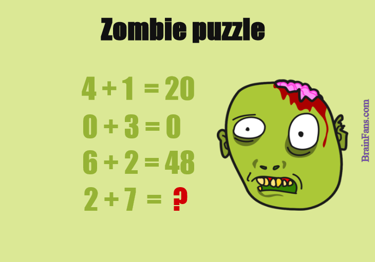 Brain teaser - Number And Math Puzzle - Zombie puzzle - Find pattern and result number