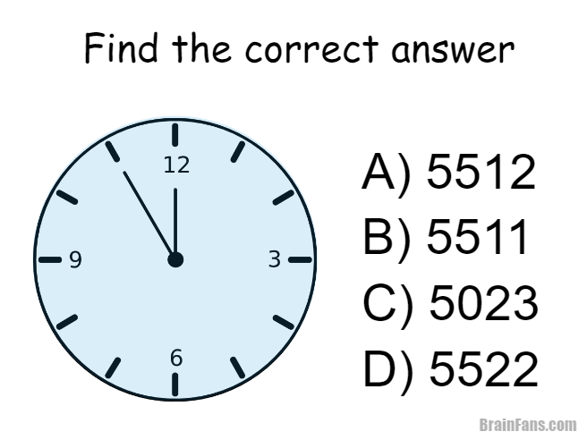 Brain teaser - Picture Logic Puzzle - Clock - Which of the answers A) B) C) D) fits most likely to the clock on the left?