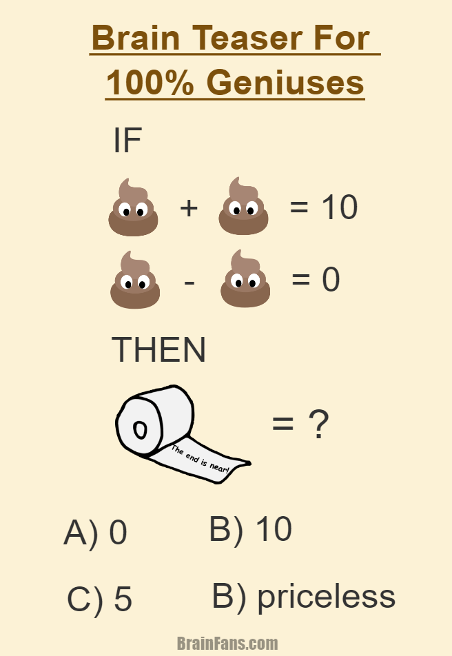 Fun Brain Teaser For 100 Percent Geniuses