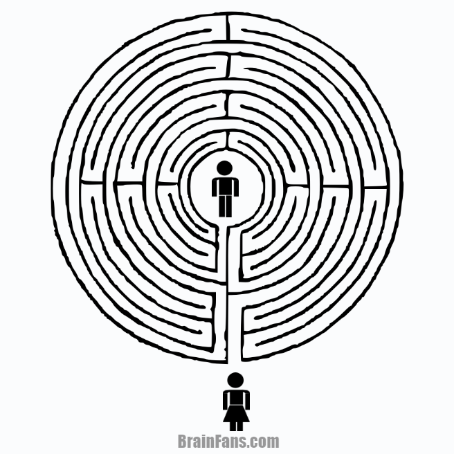 Brain teaser - Picture Logic Puzzle - labyrinth puzzle  - Can the man find the way to his wife?