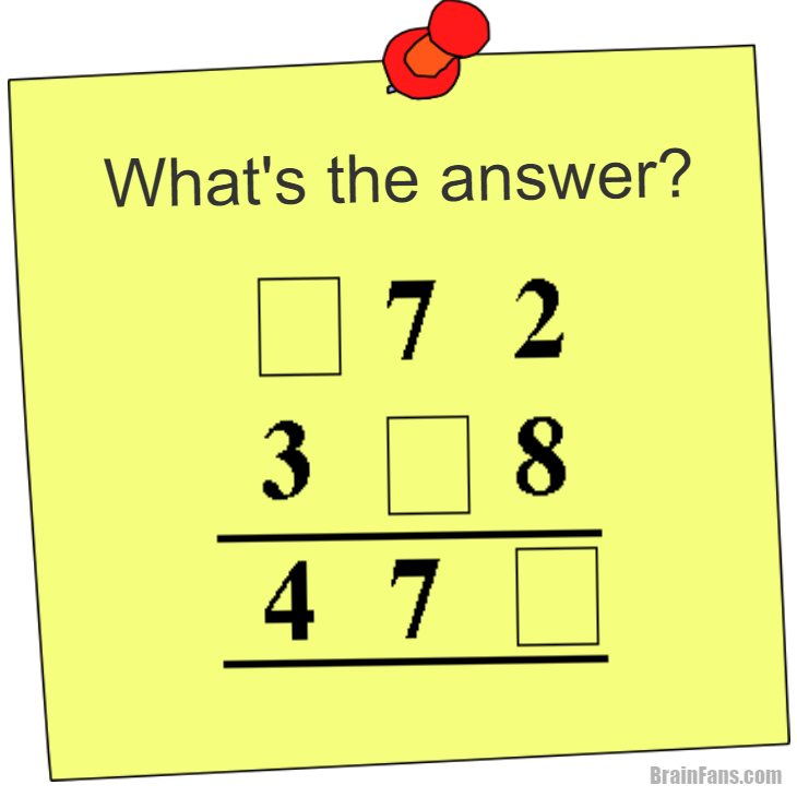 Brain teaser - Picture Logic Puzzle - what's the answer math - what's the answer math puzzle. Fill in missing numbers in squares to get the correct result